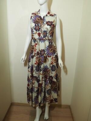 Φόρεμα μακρύ cotton λιλα-καφέ