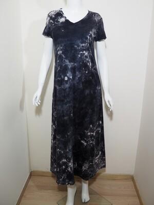 Φόρεμα μακρύ cotton γκρι-μαύρο