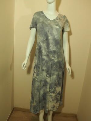 Φόρεμα μακρύ cotton γκρι-εκρού