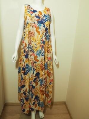 Φόρεμα μάξι cotton κίτρινο-μπλε