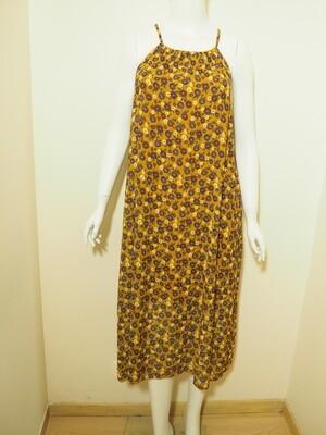 Φόρεμα μακρύ μουσταρδί-βιολετί