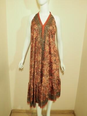 Φόρεμα μακρύ ροδί-γκρι