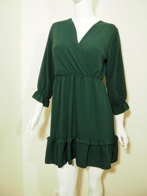 Φόρεμα κοντό με τσέπες polyester κυπαρισσί