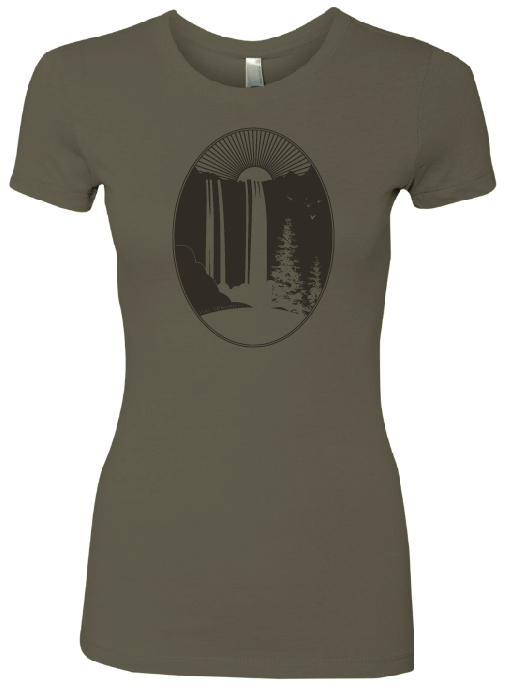 Elke Robitaille Waterfall T-Shirt in Olive Green (Women's)