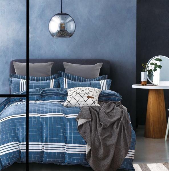 Lewis Blue Plaid Bedding Set
