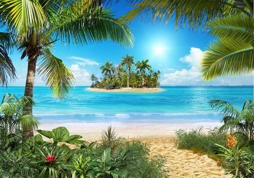 Тропический пляж. Фотообои острова. Размер: 291х204см.