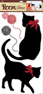 RDA3185V. Черные кошки.  Декоративные наклейки. Размер: 32х60 см. Количество: 4 элемента. Материал: ПВХ. Влагостойкая.