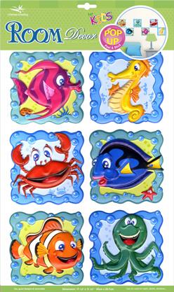 RCA0706V. Детские наклейки в ванную. Размеры: 30х45 см. Количество: 6 элементов. Материал: ПВХ, влагостойкие. 3D эффект.