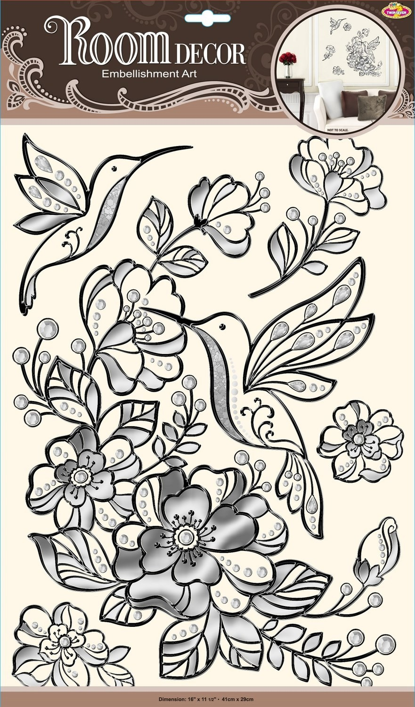POA5869 Колибри на цветах черное. Декоративные наклейки. Размеры: 41х29 см. Количество: 5 элементов. Материал: ПВХ, отделка по контуру и под металл.Влагостойкие.