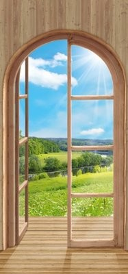 Полдень-1.  Фотообои вид из окна.  Размер: 136х291 см.