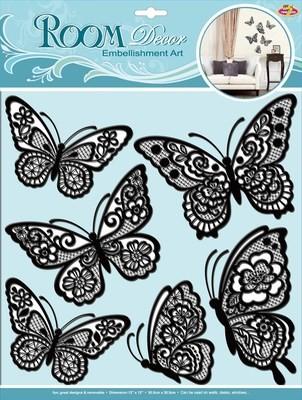 СВА 1401.Мерцающие бабочки-черные. Декоративные наклейки. Размеры: 30,5х30,5 см. Количество: 6 элементов. Материал: ПВХ,картон,блестки,многослойная.Слегка согнуть крылья вверх,чтобы придать 3D эффект.