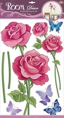 RCA 9338. Яркая роза. Стикеры наклейки на стену. Размер- 50*32 см. Материал-ПВХ, с блестками, влагостойкие. Количество элементов-7.