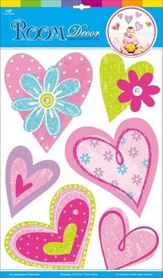 CBA 3518.Сердечки с цветами.Наклейки декоративные. Размеры: 41х29 см. Количество: 6 элементов. Материал: ПВХ, картон,блестки, многослойная.