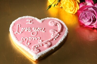 Hand Decorated Mother's Day Heart Cookies