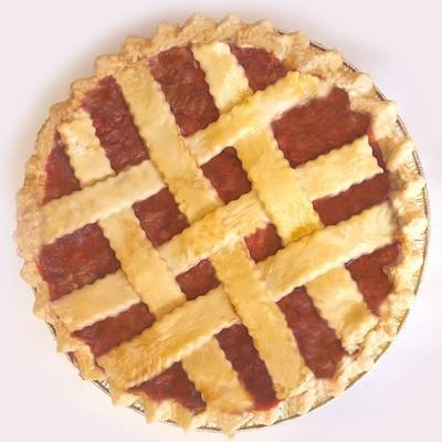Strawberry Rhubarb Pie with lattice