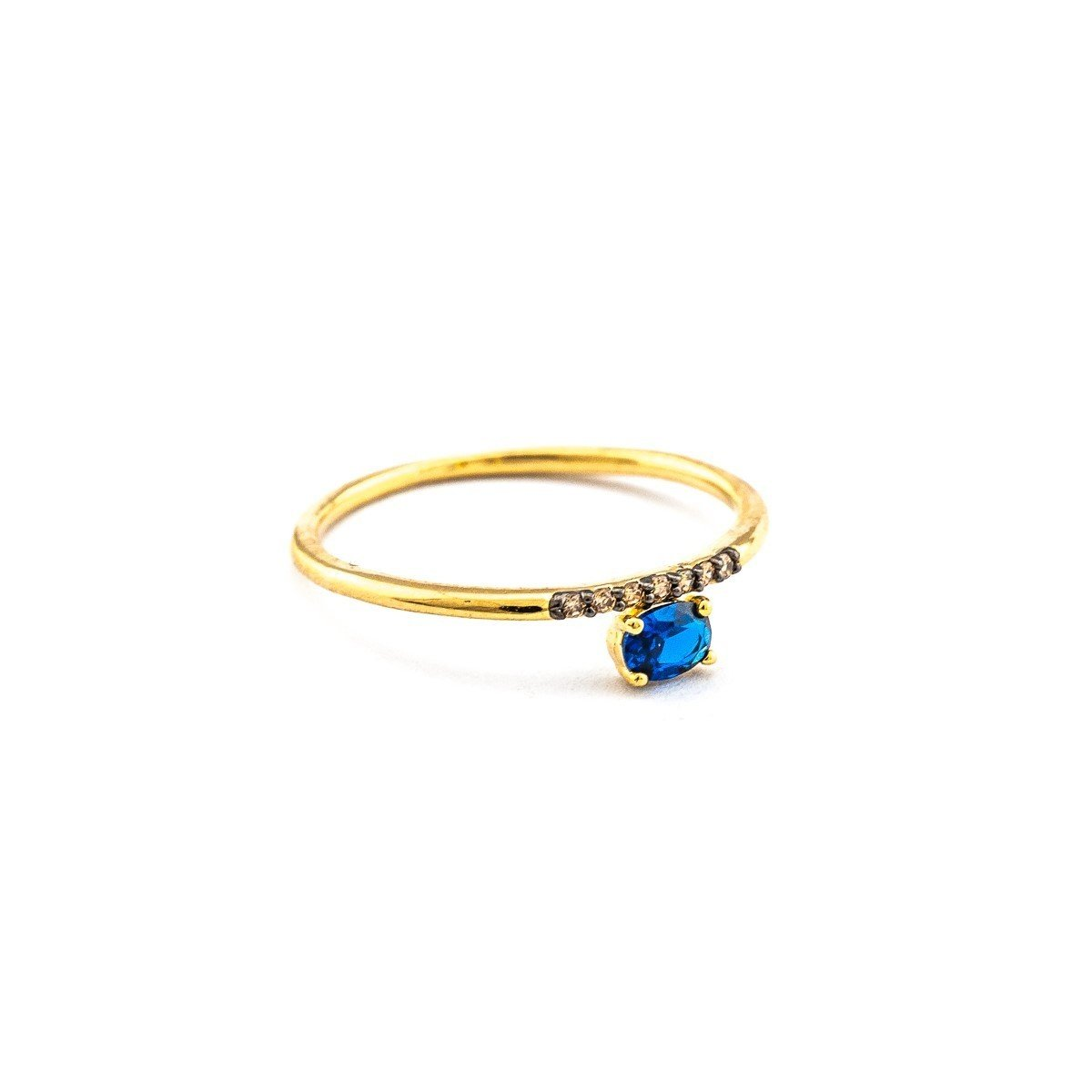 Colored CZ & Montana Glass Ring