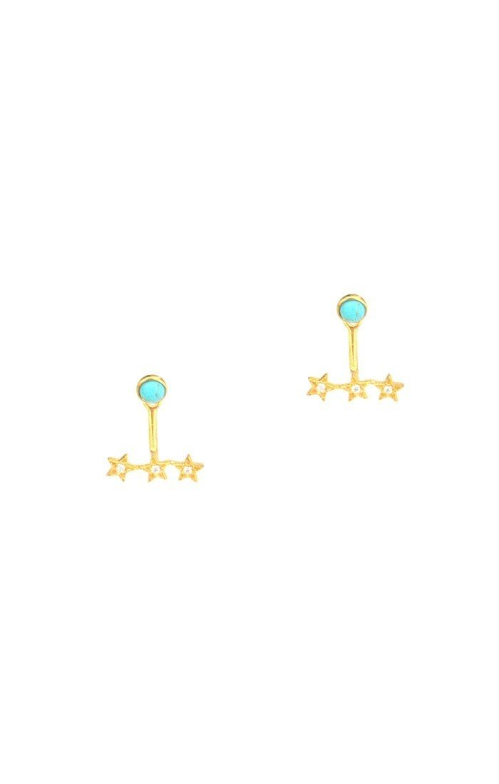 Turquoise Post Jacket with 3 CZ stars