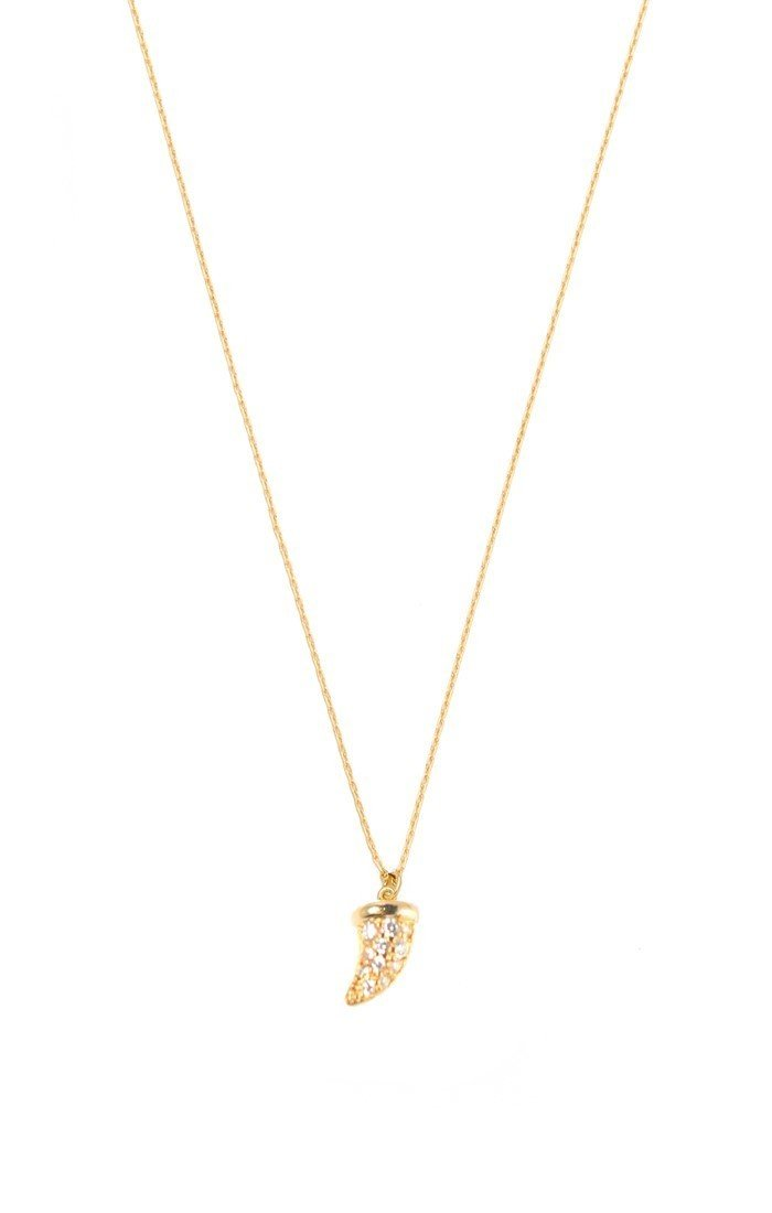 Gold Simple Chain Necklace with Gold CZ Horn