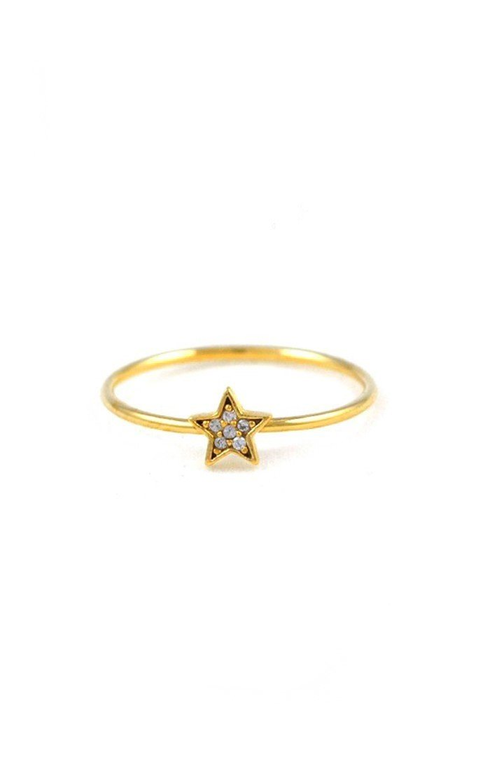 Gold CZ Star Ring