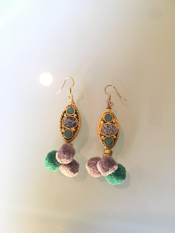 Green PomPom Earrings