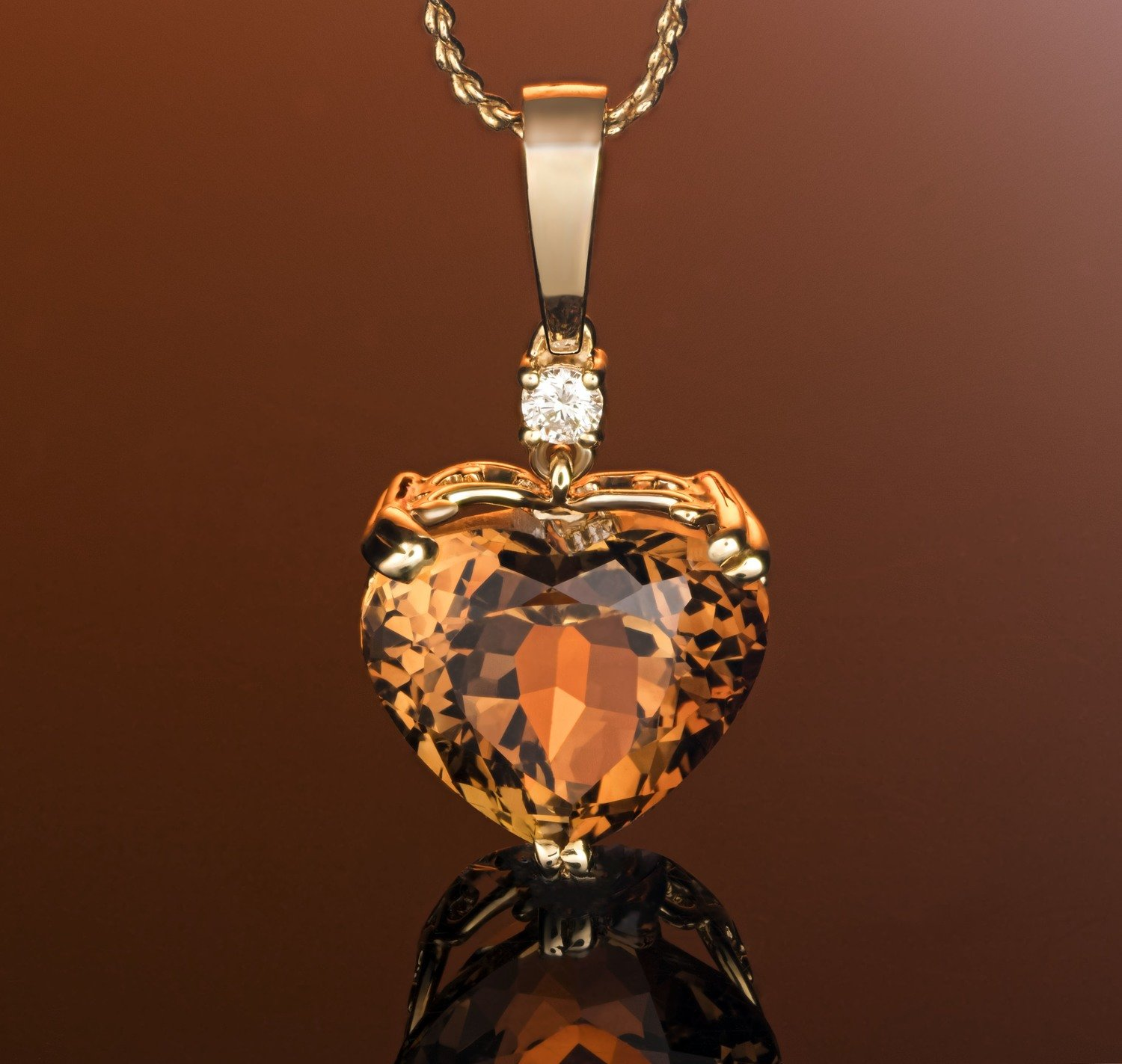 Gorgeous Champagne Topaz Heart with Diamond Accent 14k Solid Yellow Gold Pendant - One-of-a-Kind!