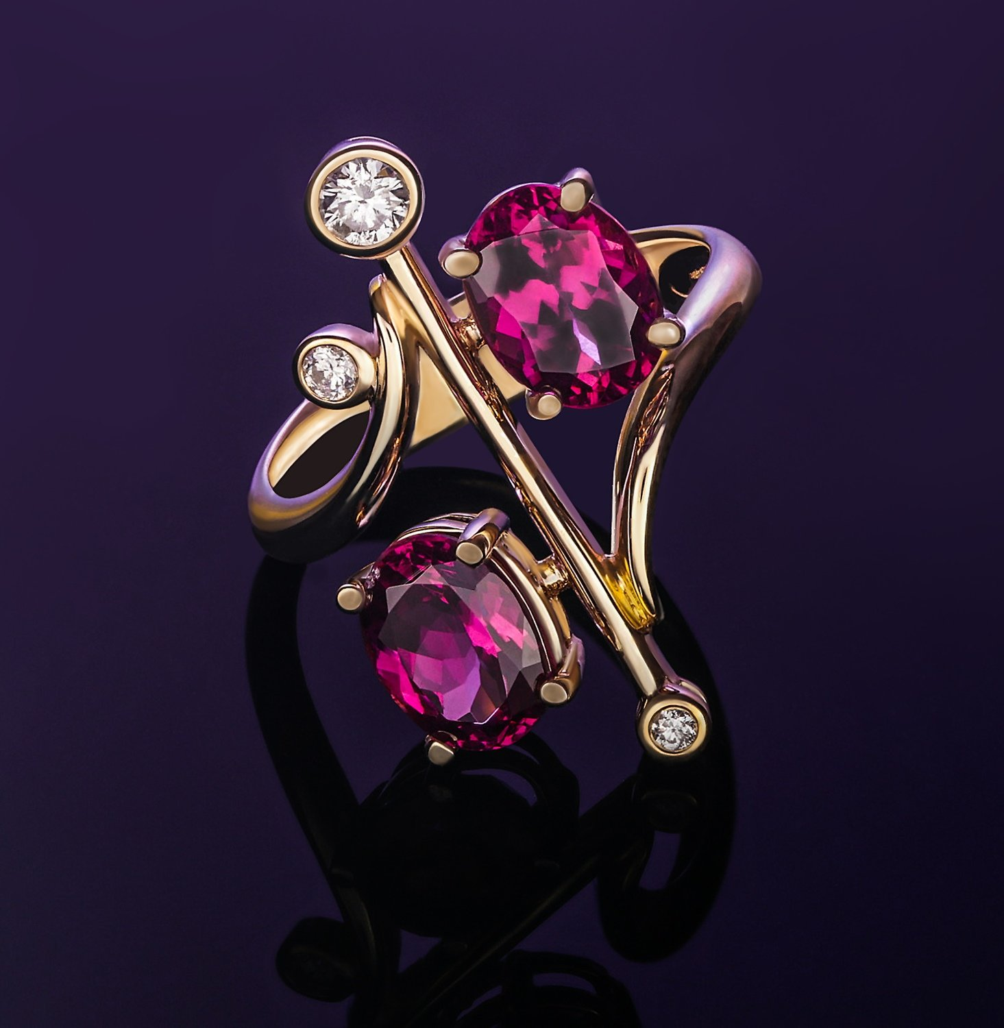 Genuine Raspberry Garnet Double Solitaire with Diamonds 14k Solid Yellow Gold Ring - One-of-a-kind!