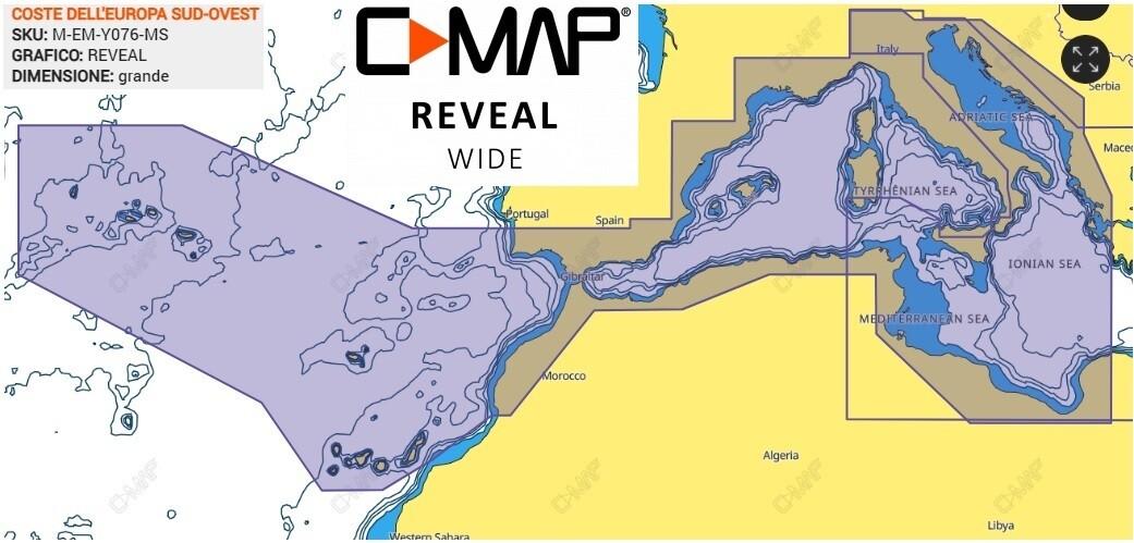 Cartografia  C-MAP Reveal -- COSTE DELL'EUROPA SUD-OVEST