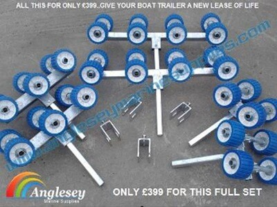 Pair of 345mm Uprights with Green roller Wing Bracket assemblies Boat Trailer