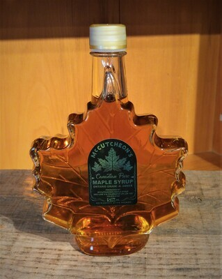 500ml Ontario Grade A Amber Maple Syrup  Maple Leaf Glass Bottle - Available for pickup order only​ - Not shipped