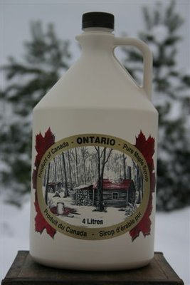 4L Ontario Grade A Amber Maple Syrup Plastic Jug - Available for pickup orders only - Not shipped.