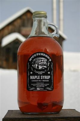 1.9L Ontario Grade A Amber Maple Syrup Glass Jug - Available for pickup orders only - Not shipped.