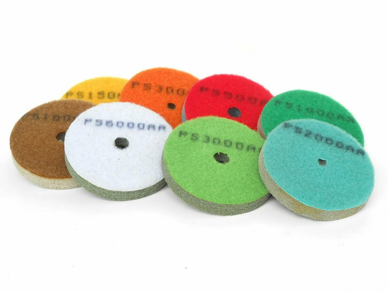 Diamond sponge pad discs 3inch - 8 grits set