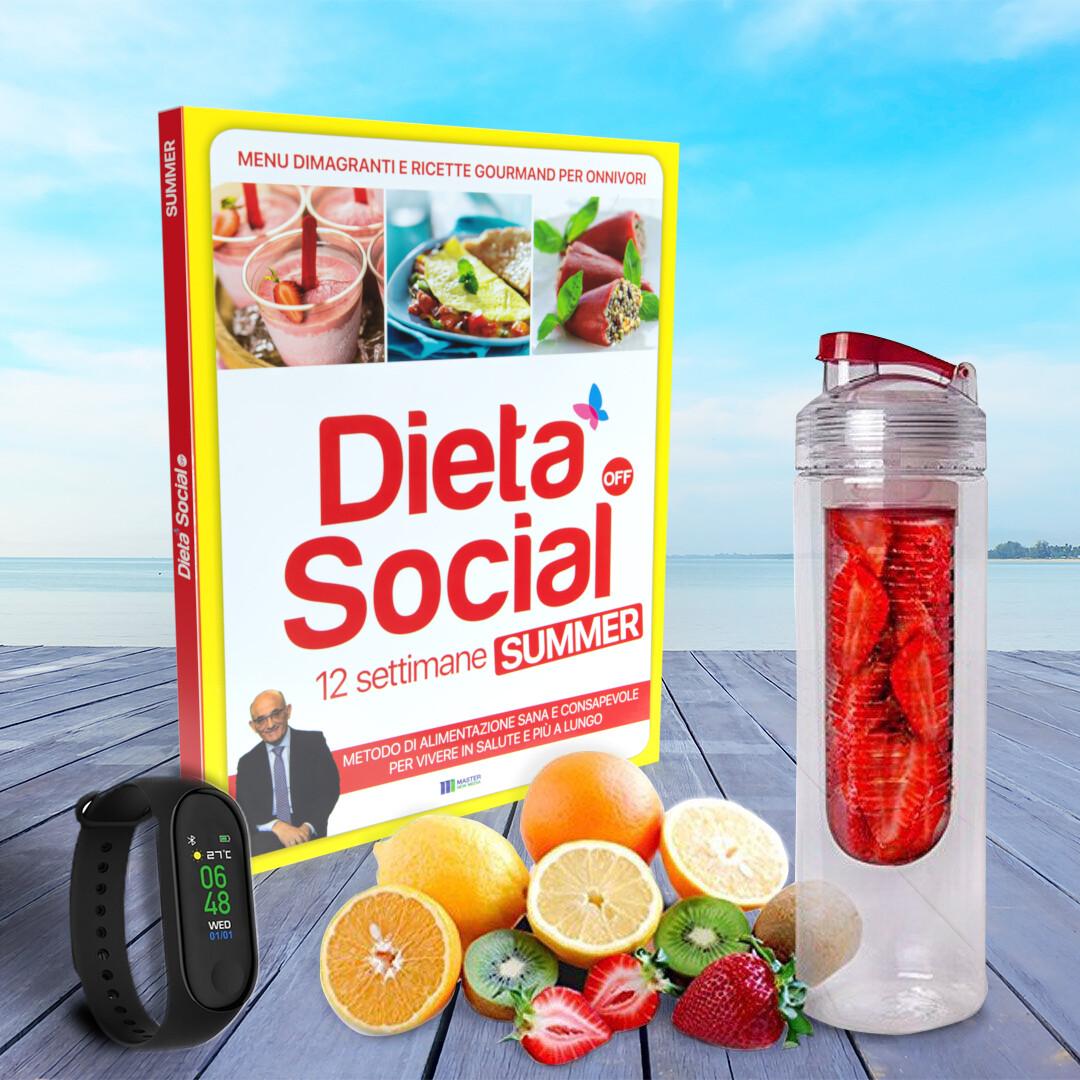 Dieta Social OFF Summer (ESTATE) per ONNIVORI (con 3 mesi di menu e ricette) + Bottiglia per sassy water + Bracciale cardio fitness nero