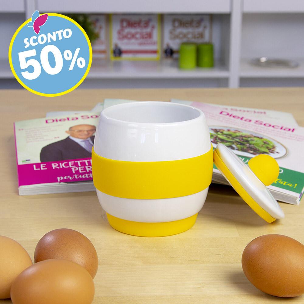 Cuociuova in ceramica per microonde più ricettario
