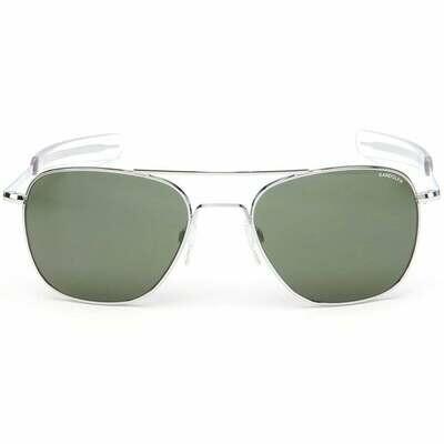 Randolph Aviator Skytec Bright Chrome Bayonet Sunglasses 55mm American Gray Lens