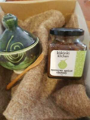 Moroccan Apricot Chutney (200g) with hand crafted condiment pot and wooden spoon