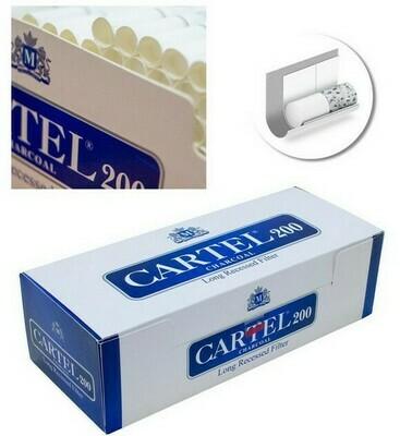 Сигаретные гильзы Cartel - Long Recessed Filter (Угольные) - (200 шт.)
