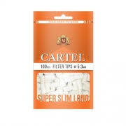 Фильтры для самокруток 5,3 мм Cartel Super Slim Long (100 шт) - (оранжевые)
