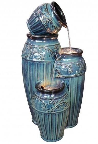 Keramikfontän krukor
