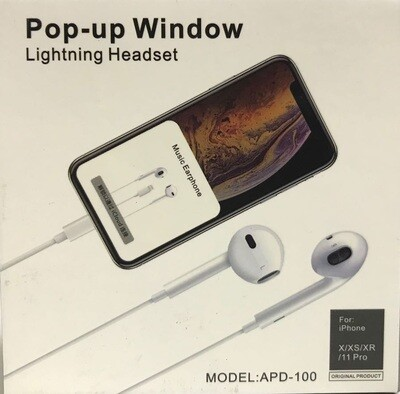 Pop-up Window Lightning Head Set Earphone