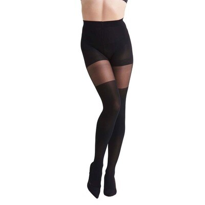 Nomi High Waist Two-Toned Shaping Tights | Black