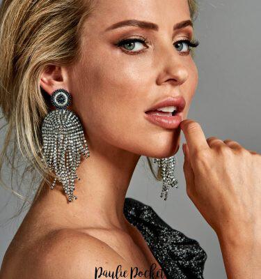 Paulie Pocket Silver/Grey Beads Earrings