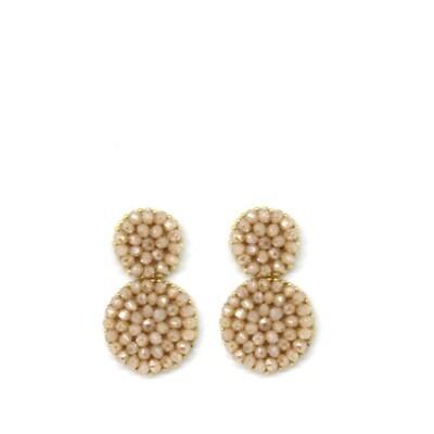 Paulie Pocket Small Beige Beads Earrings