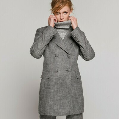 ACCESS Checked Long Double Waisted Blazer