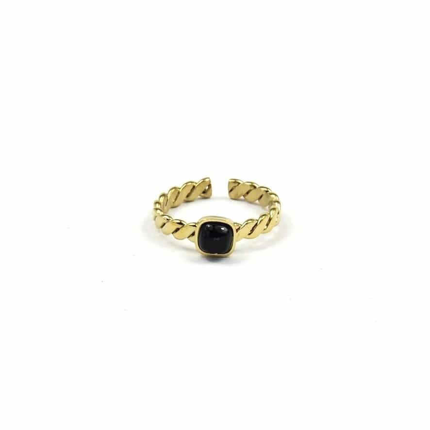 ZAG Ring Onyx Stone Twisted | Goud