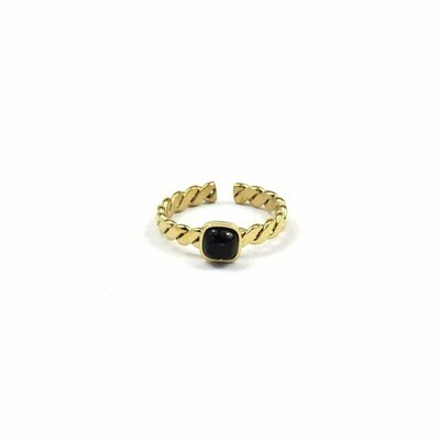 ZAG Ring Onyx Stone Twisted | Goud