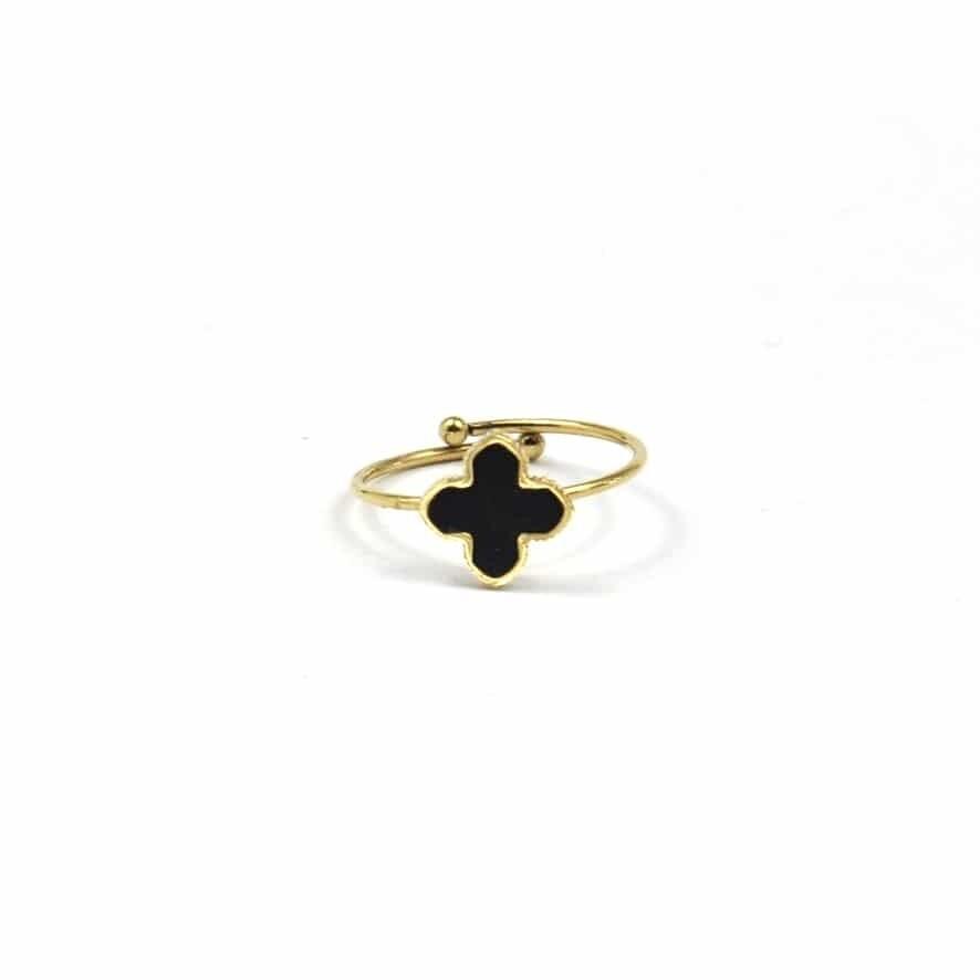 ZAG Ring Klavertjevier Black   Goud