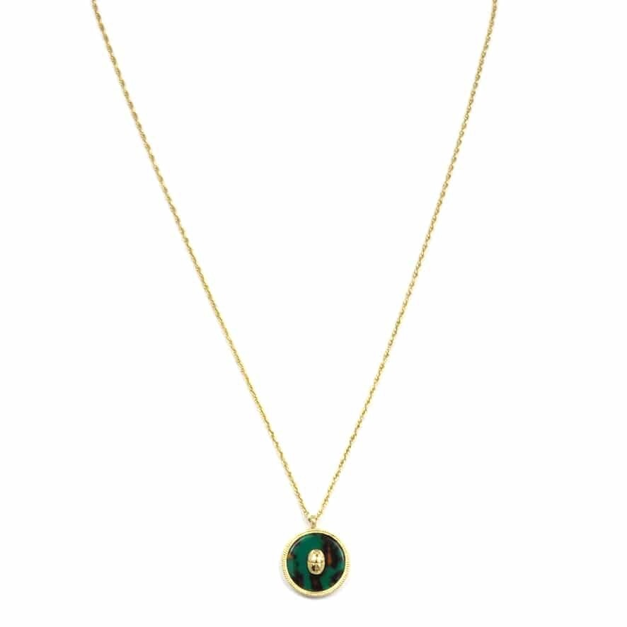 ZAG Ketting Luxury Pendant Malachite Green Scarabee | Goud