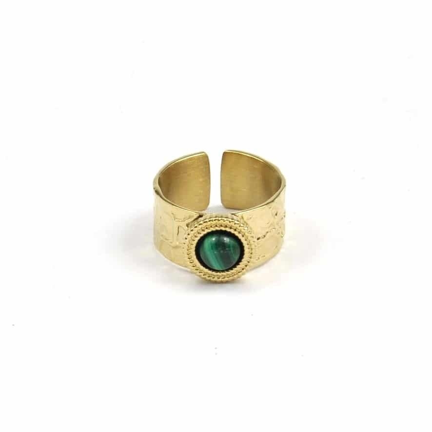 ZAG Ring Baroque Malachite Stone   Goud