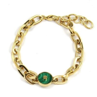 ZAG Armband Chunky Chains Malachite Stone | Goud